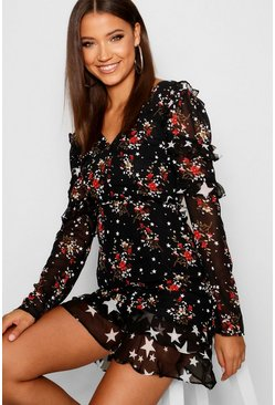 Womens Black Tall Ruffle Detail Mixed Print Mini Dress