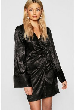 Womens Black Tall Jacquard Satin Kimono Dress