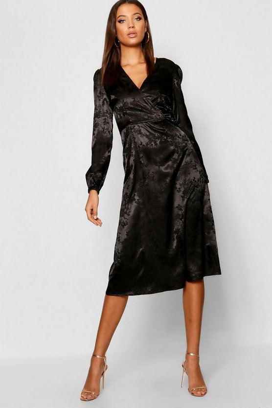Tall Jacquard Satin Wrap Midi Dress