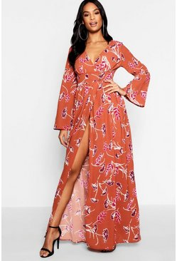 Womens Brick Tall Button Through Floral Maxi Dress