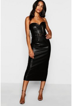 Womens Black Tall PU Belted Bandeau Dress