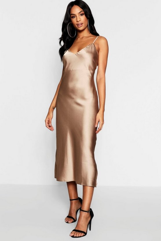 Womens Taupe Tall Satin Slip Dress