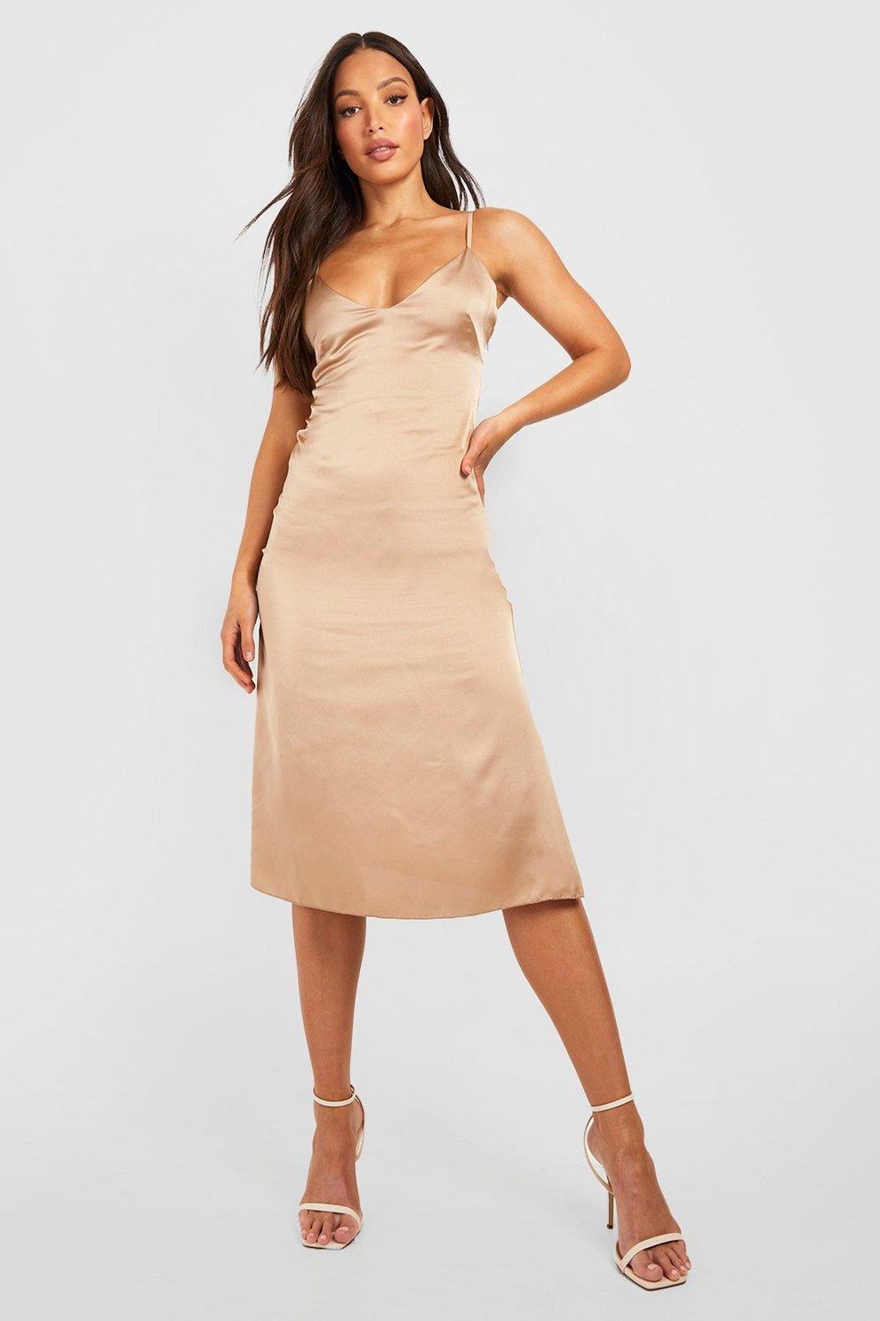 df124e14e923 Tall Satin Slip Dress | Boohoo