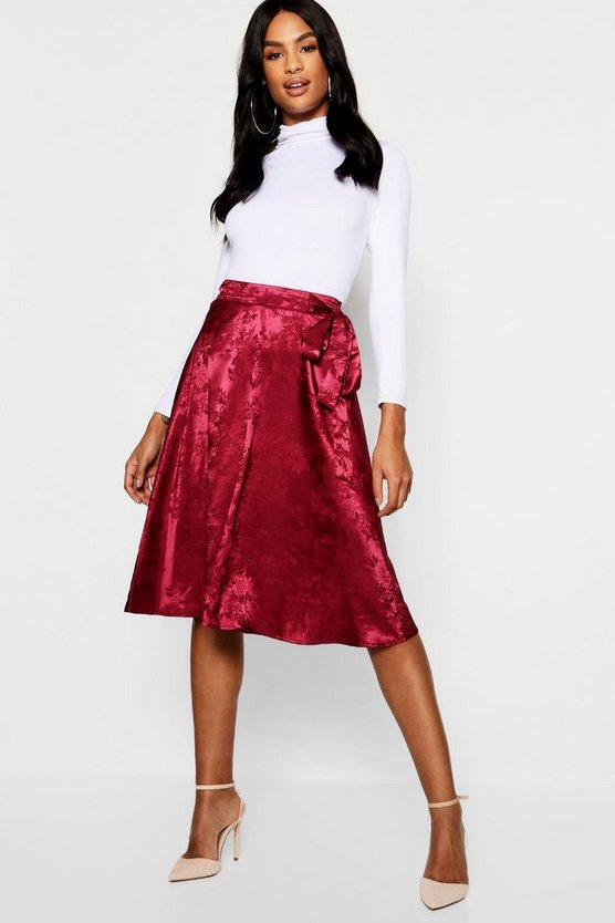 Womens Tall Jacquard Satin Midi Skirt