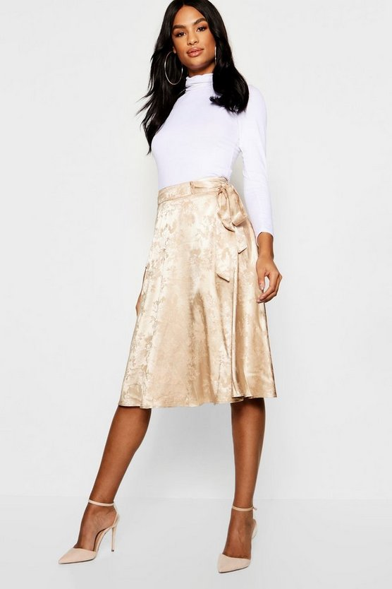 Tall Jacquard Satin Midi Skirt
