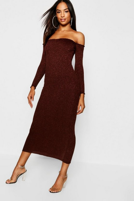 Tall Rib Knit Bardot Midaxi Dress