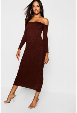 Womens Chocolate Tall Rib Knit Bardot Midaxi Dress