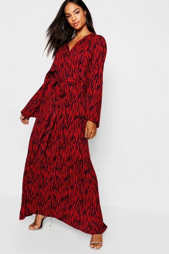Tall Wickelkleid mit Tiger-Print