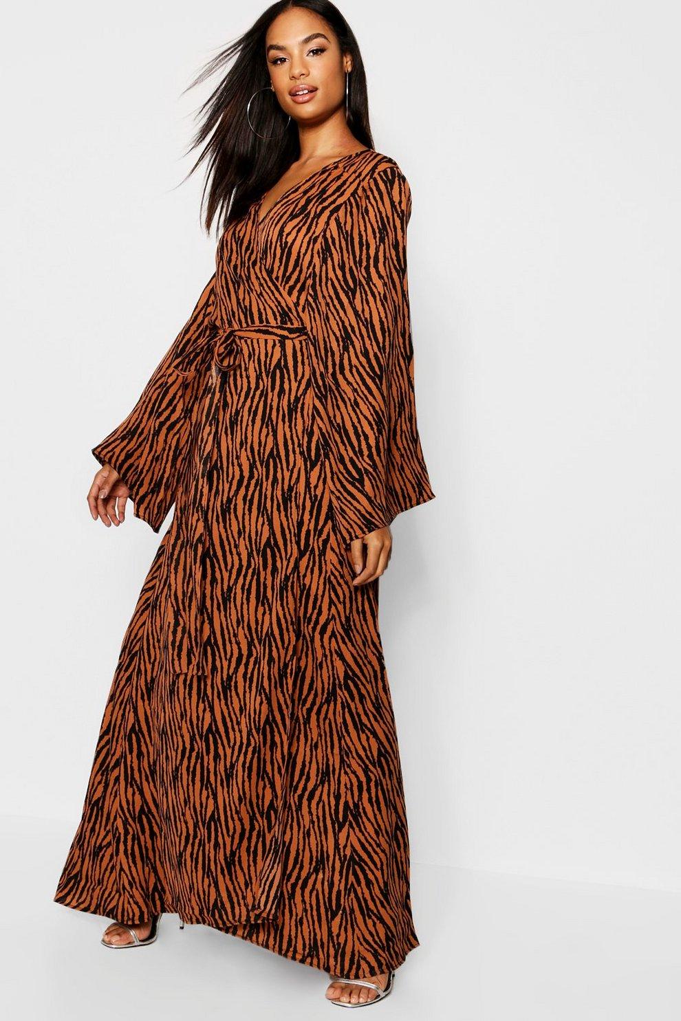 792fbd3f1acf53 Tall Tiger Print Wrap Dress | Boohoo