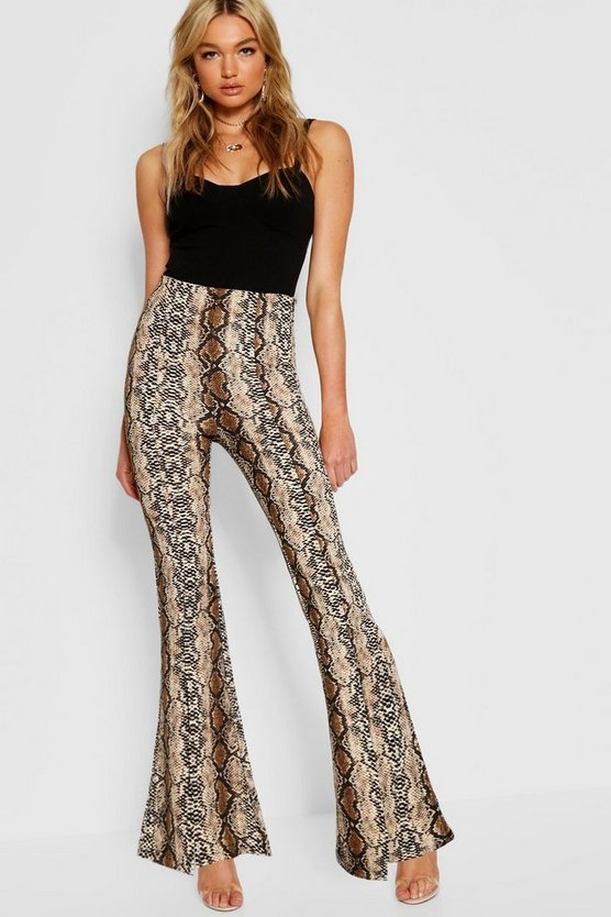 Tall Snake Print Flares