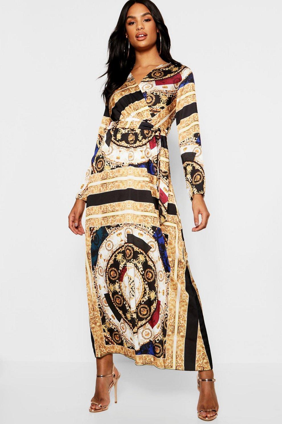 b6f09ea52067 Tall Scarf Print Satin Maxi Dress | Boohoo