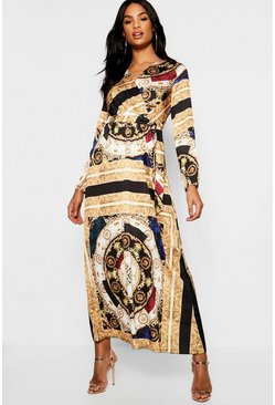 Womens Black Tall Scarf Print Satin Maxi Dress