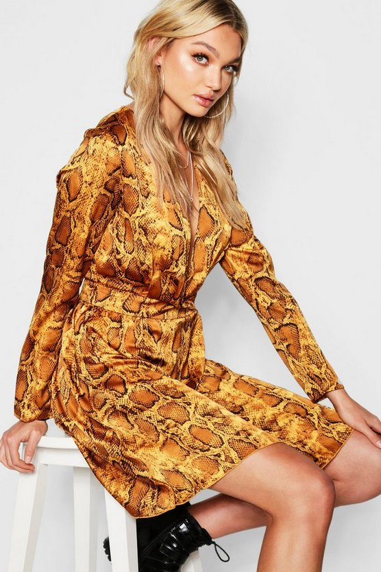 Womens Gold Tall Knot Front Snake Print Satin Skater Dress
