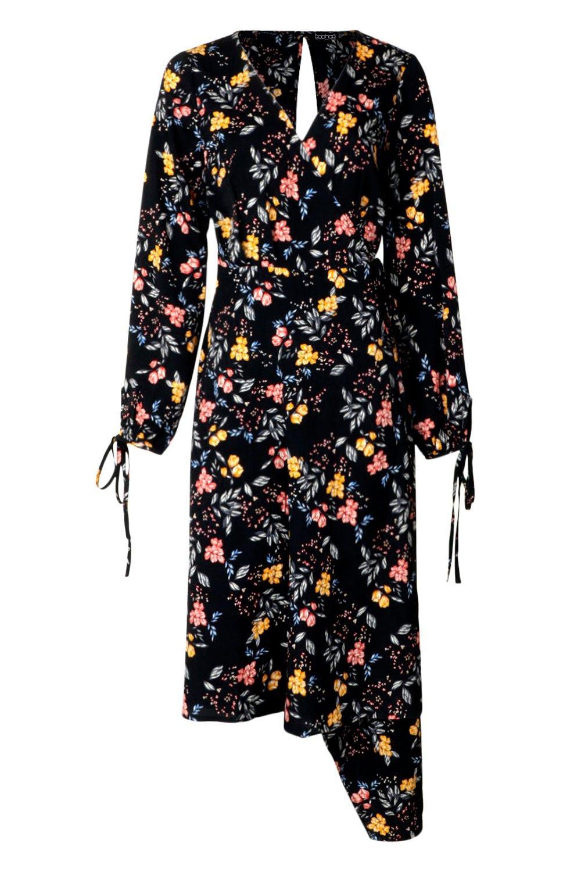 Boohoo-Womens-Tall-Tie-Front-Wrap-Midi-Dress