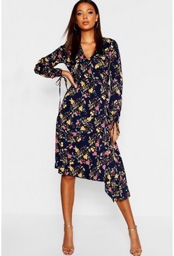 Womens Navy Tall Tie Front Wrap Midi Dress
