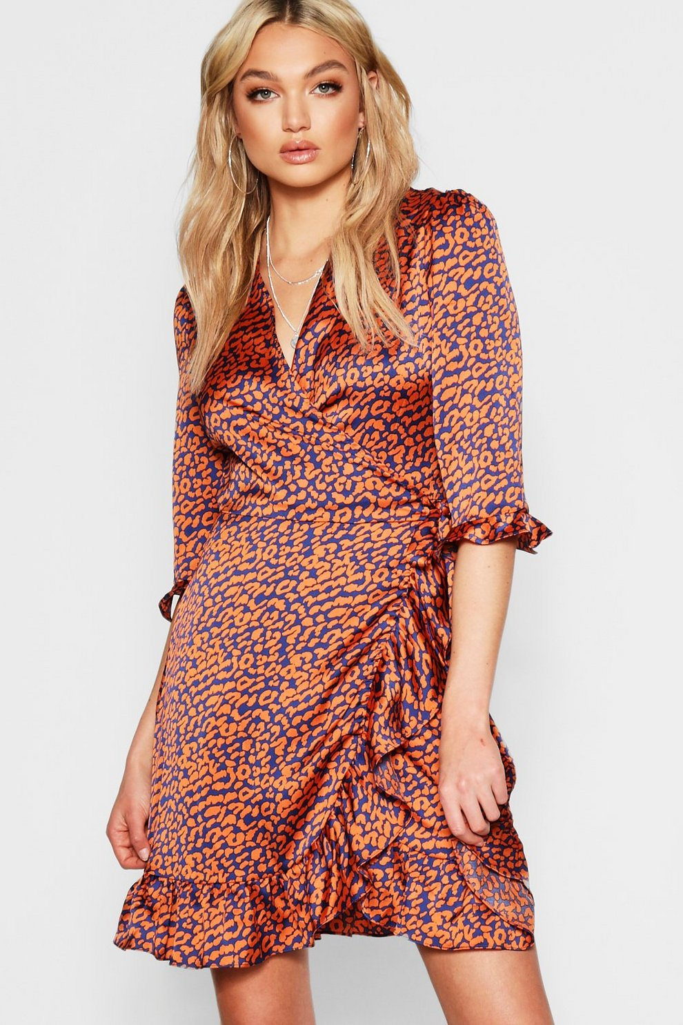 72bc238e09b62 Tall Satin Leopard Print Ruffle Wrap Dress