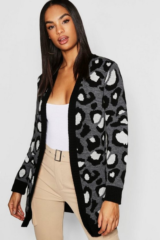 Womens Charcoal Tall Leopard Print Cardigan