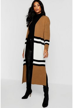 Womens Camel Tall Colour Block Cardigan