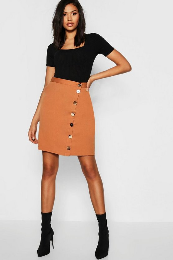 Womens Camel Tall Asymmetric Mixed Button Mini Skirt