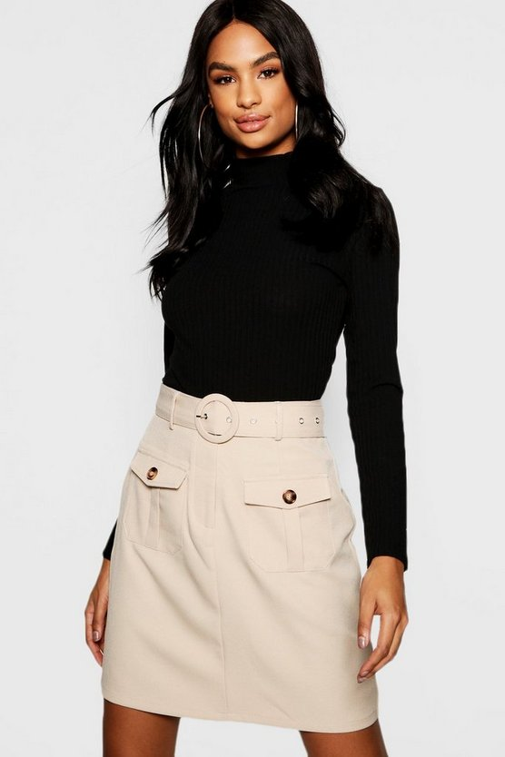 Tall Mock Horn Button Utility Belted Skirt