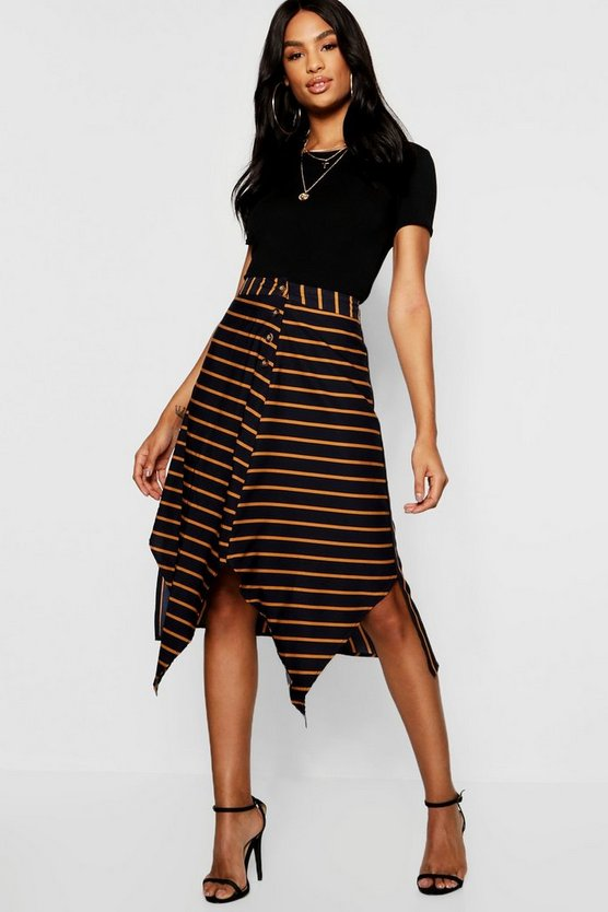 Tall Asymmetric Stripe Midi Skirt