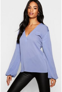 Womens Ocean blue Tall Chiffon Utility Balloon Sleeve Blouse