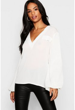 Womens White Tall Chiffon Utility Balloon Sleeve Blouse