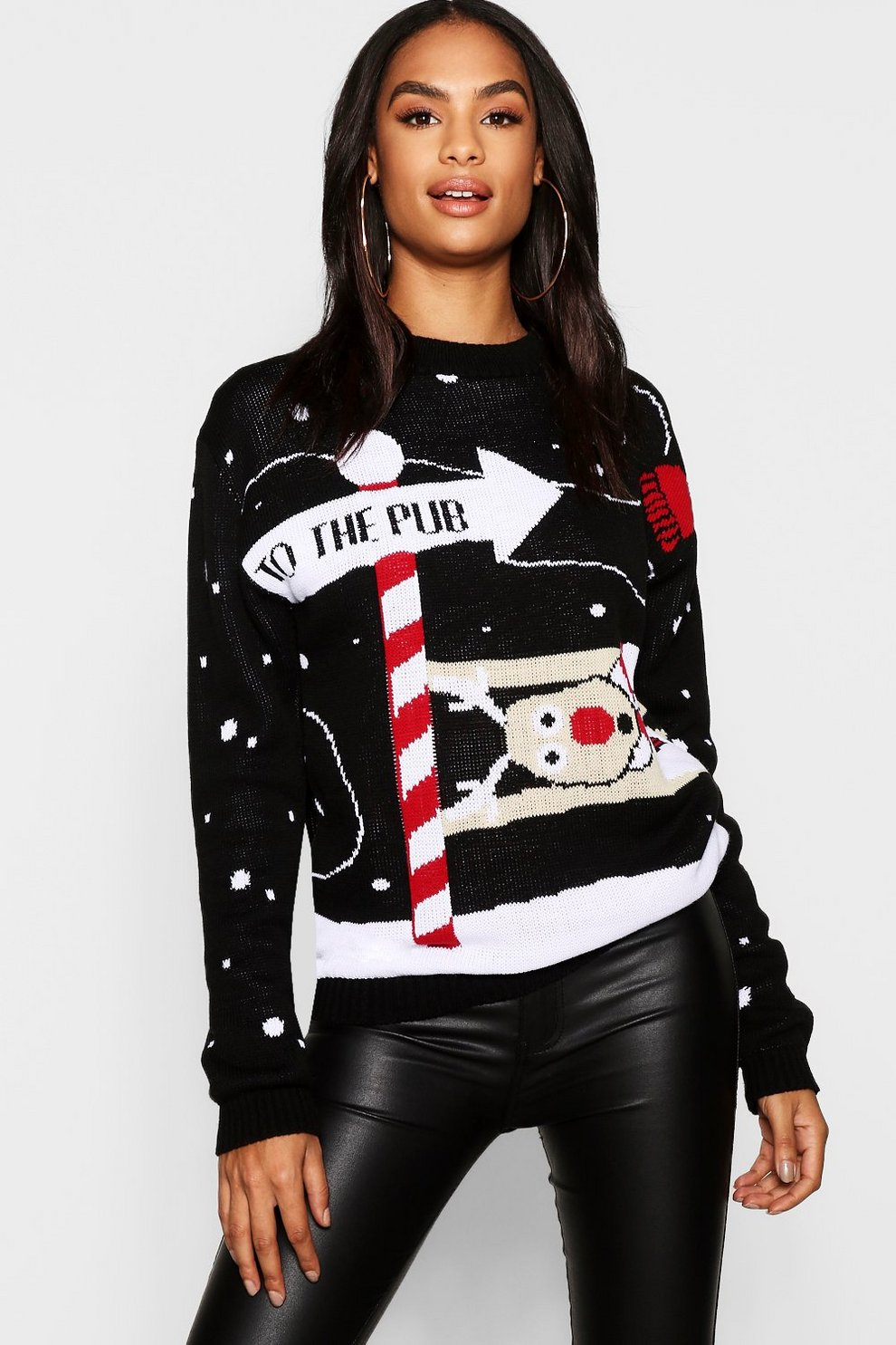 c06c896bdfb Womens Black Tall Reindeer Christmas Sweater