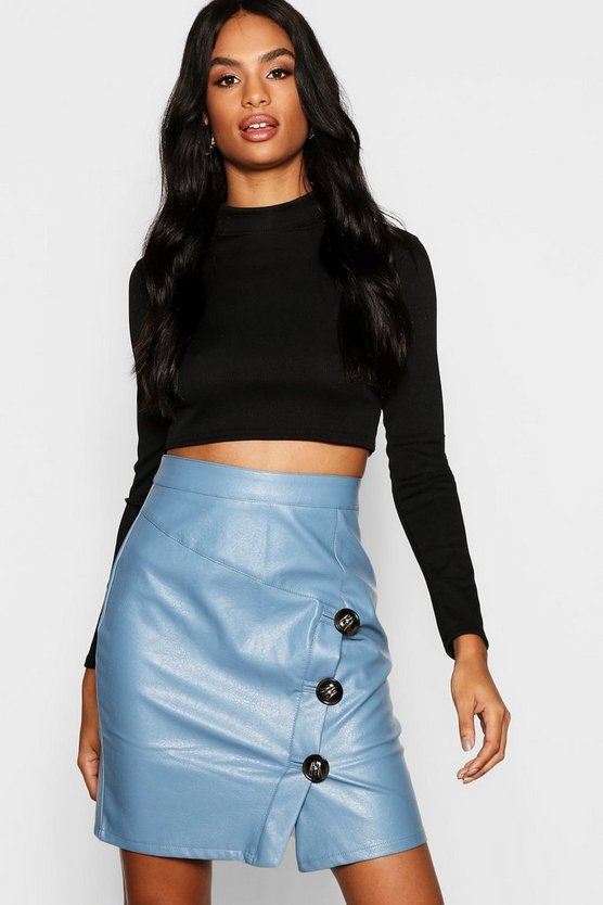 Blue Tall Mock Horn Button Faux Leather Mini Skirt