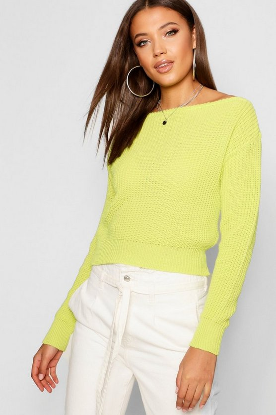 Tall Slash Neck Crop Fisherman Sweater