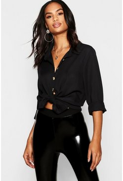 Womens Black Tall Mock Horn Button Oversized Shirt