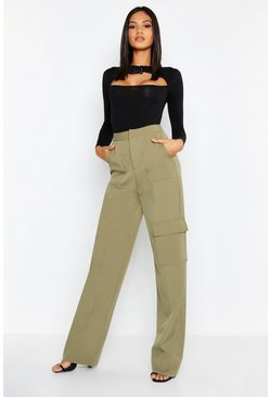Womens Khaki Tall Utility Pocket Wide Leg Trouser
