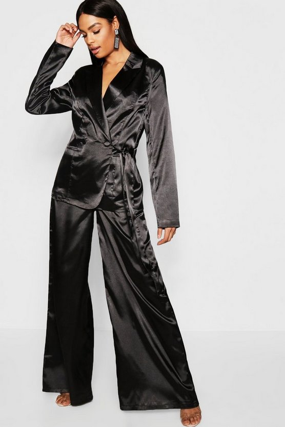 Tall Satin Wide Leg Trouser