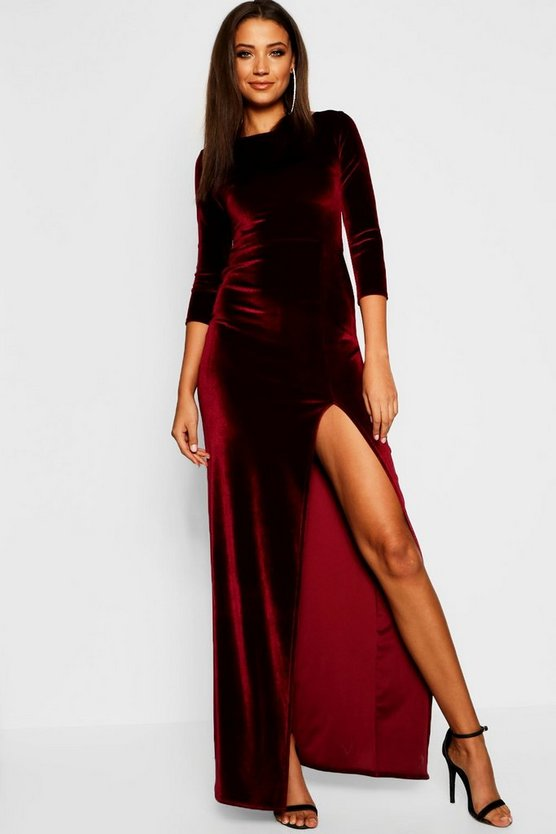 Berry Tall Velvet Thigh Split Maxi Dress