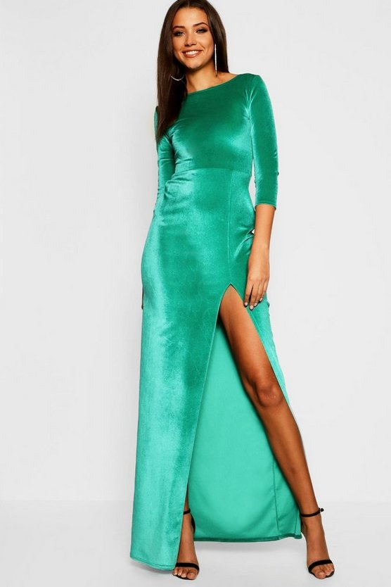 Tall Velvet Thigh Split Maxi Dress