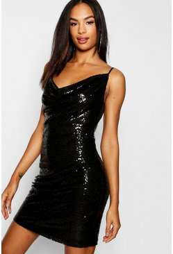 Black Tall Cowl Neck Sequin Bodycon Dress