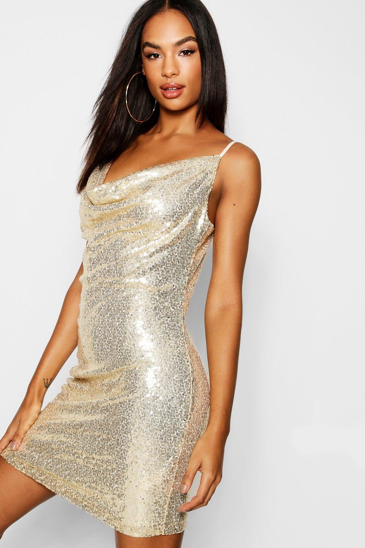 e85a821bca60 Tall Cowl Neck Sequin Bodycon Dress. Womens Rose gold Tall Cowl Neck Sequin  Bodycon Dress