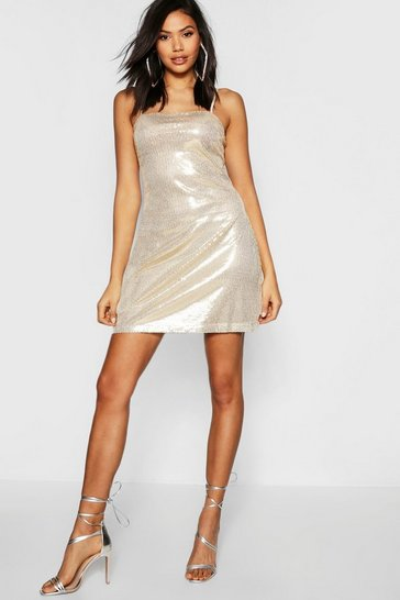 Womens Gold Tall Sequin Square Neck Mini Bodycon Dress