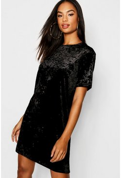 Black Tall Crushed Velvet T-Shirt Dress