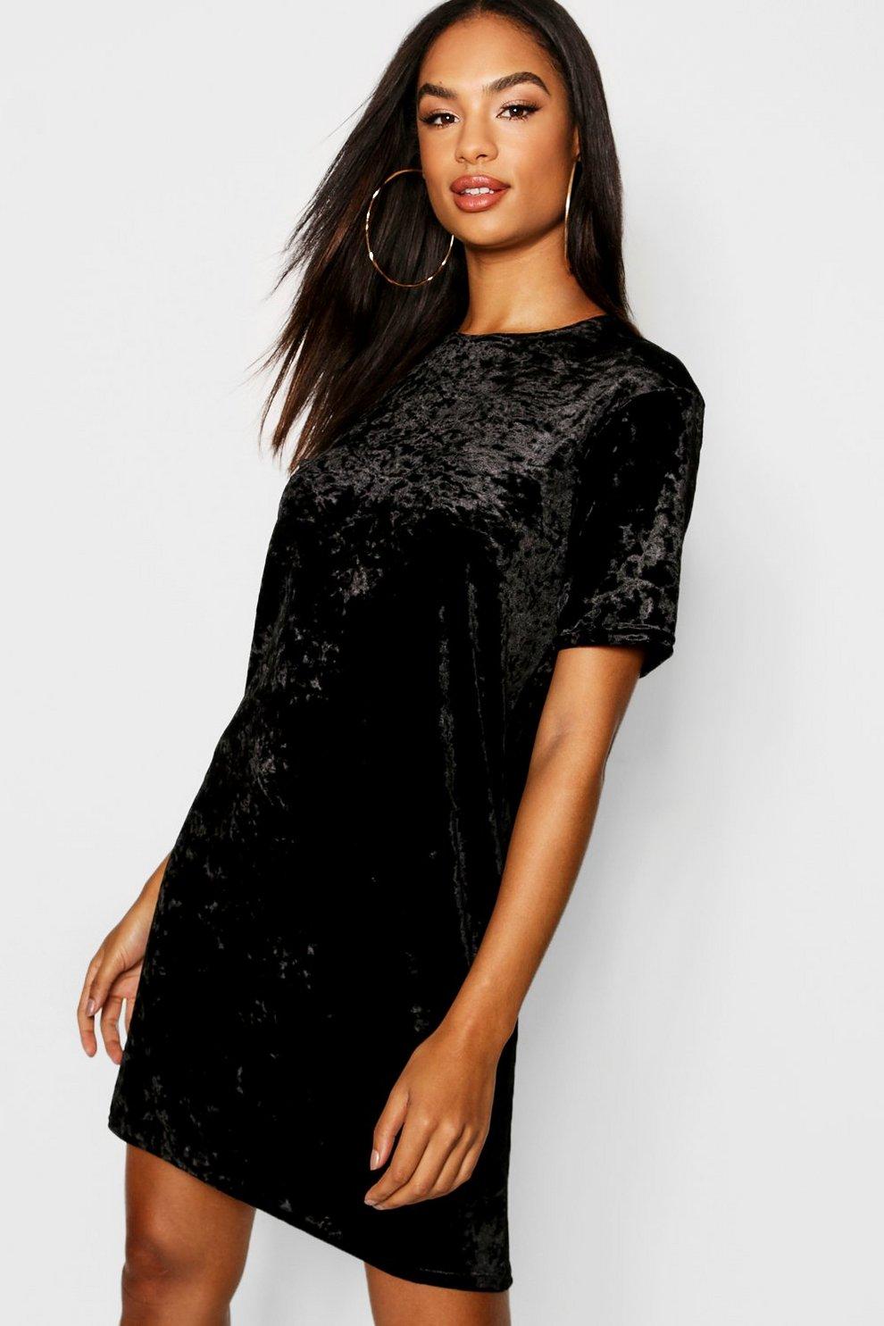 81d49b5e3bcde Tall Crushed Velvet T-Shirt Dress | Boohoo