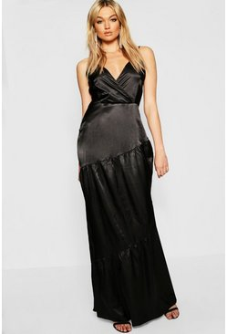 Womens Black Tall Plunge Satin Maxi Dress