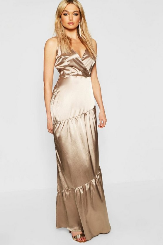 Womens Gold Tall Plunge Satin Maxi Dress