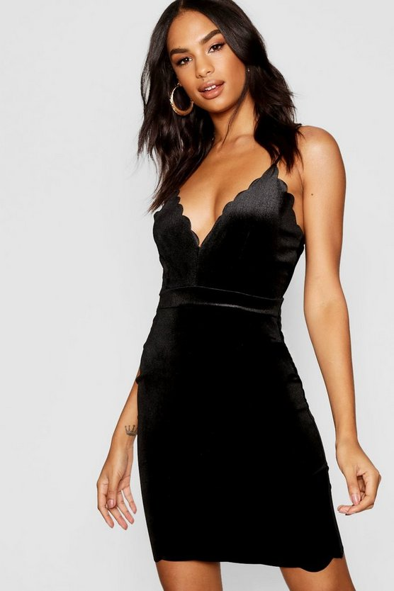 Tall Velvet Scallop Hem Mini Dress