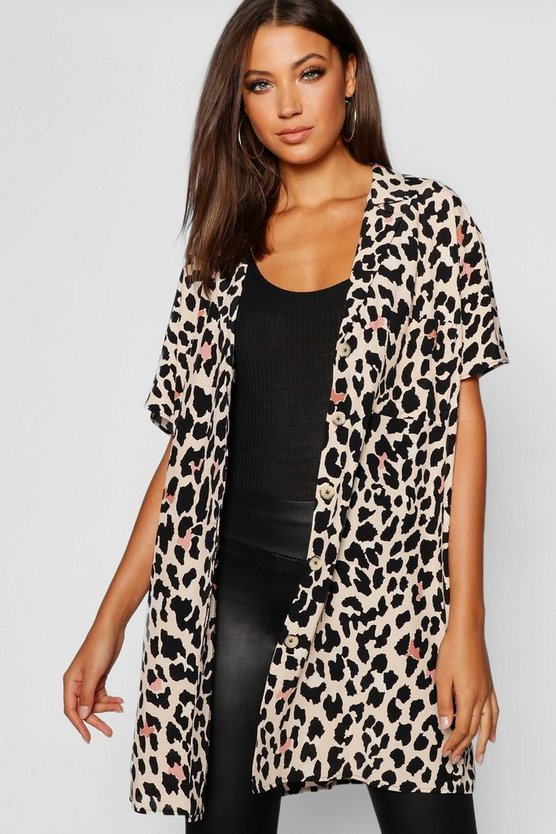 Womens Leopard Tall Leopard Print Shirt Dress