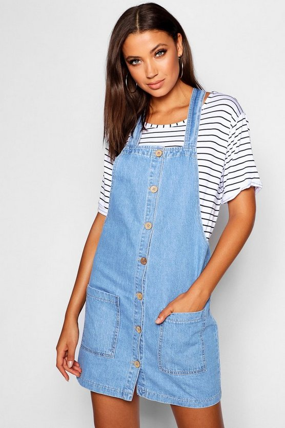Tall Denim Pinafore Dress