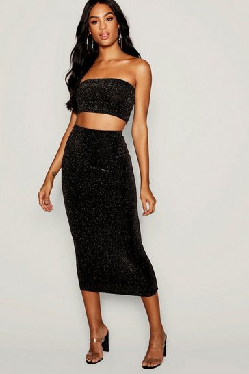 Womens Gold Tall Shimmer Midi Skirt