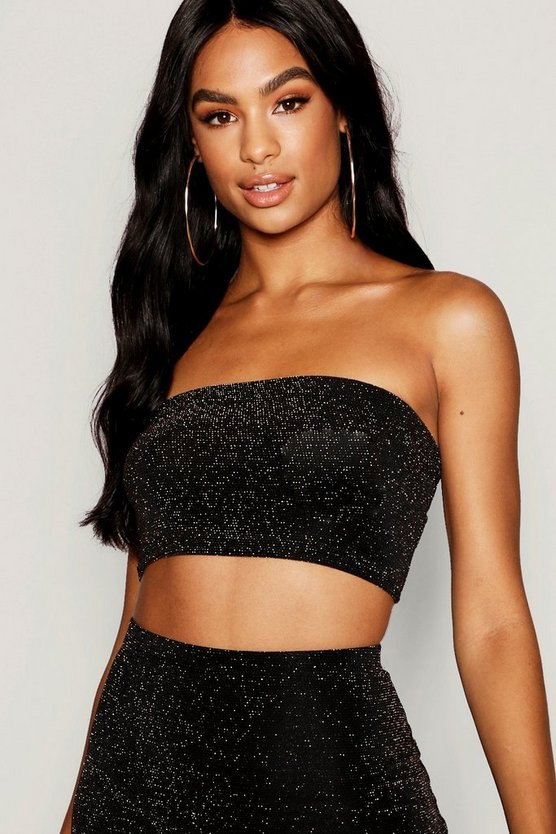 Womens Gold Tall Shimmer Bandeau