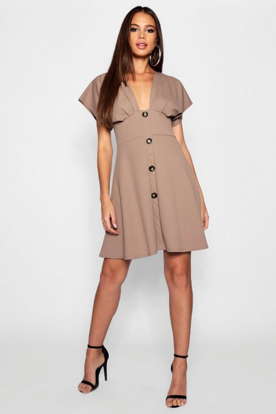 Tall Horn Button Plunge Front Skater Dress
