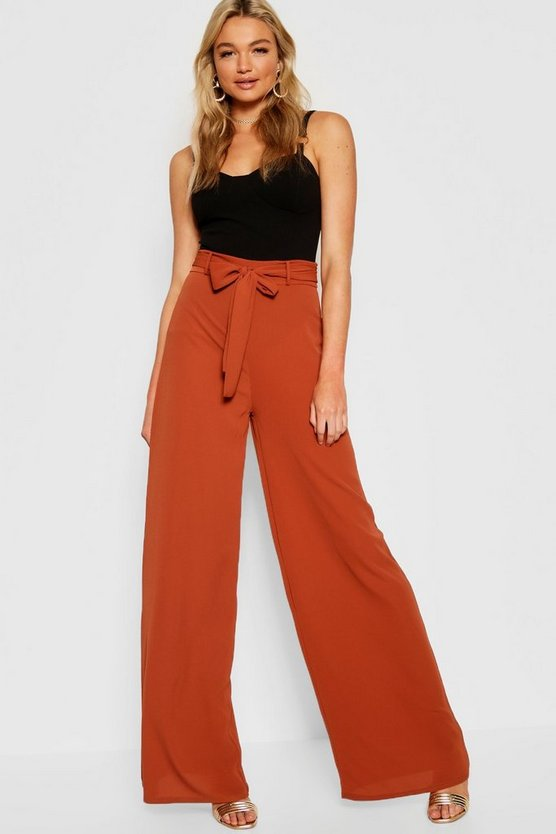 Tall Tie Waist Wide Leg Woven Trouser