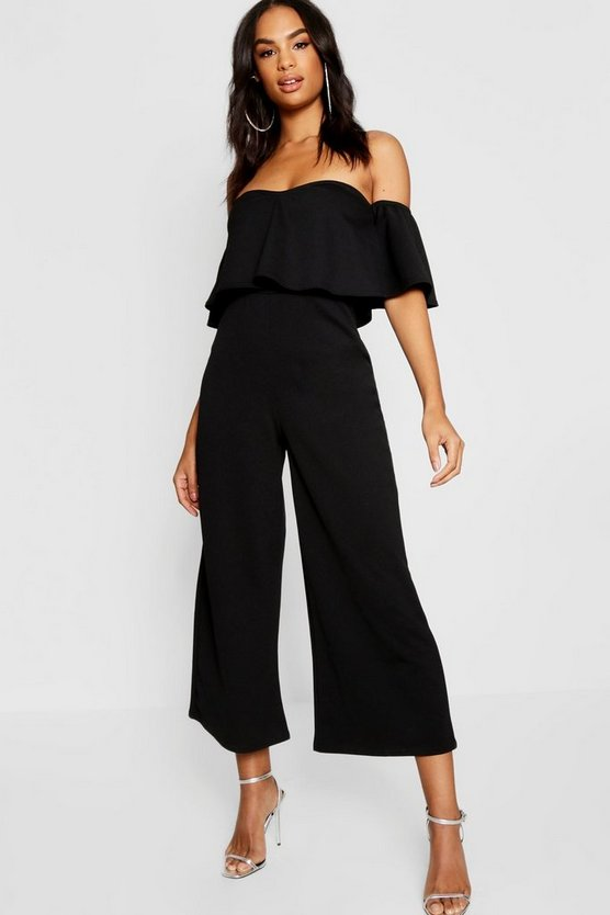Womens Black Tall Bardot Ruffle Jumpsuit
